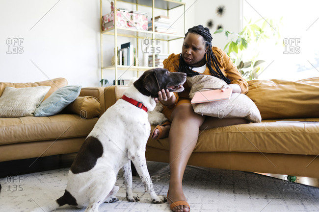 Woman sitting on sofa and stroking her dog