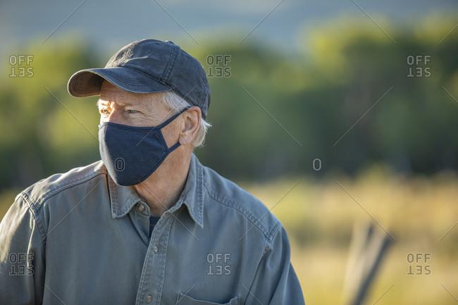 USA, Idaho, Bellevue, Portrait of farmer in face mask