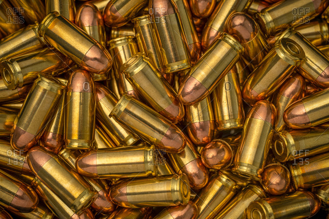 Close-up of Heap of gold bullets