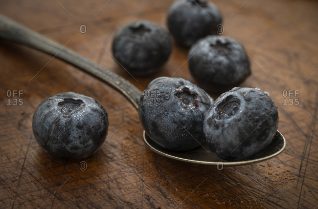 Close-up of Blueberries on spoon