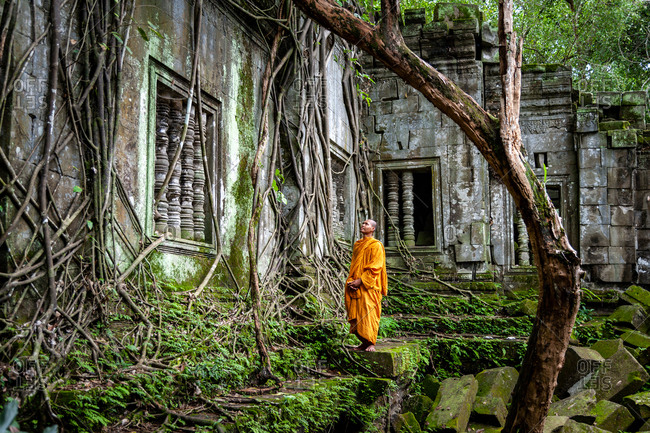 SIEM REAP, CAMBODIA - 09 July 2012: Monk appreciates ancient window lost in jungle at Beng Mealea, Angkorian Temple, Siem Reap province.