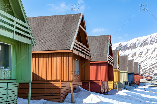 The colorful wooden chalet houses of Longyearbyen, Svalbard, a Norwegian archipelago between mainland Norway and the North Pole