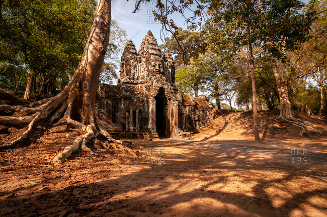 Angkor Archaeological Park, Siem Reap, Cambodia. Empty north gate of Angkor Thom in warm light with tree roots in foreground.