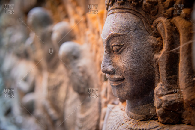 Angkor Archaeological Park, Siem Reap, Cambodia. Fine carvings on interior wall of  terrace of leper king in Angkor Thom.