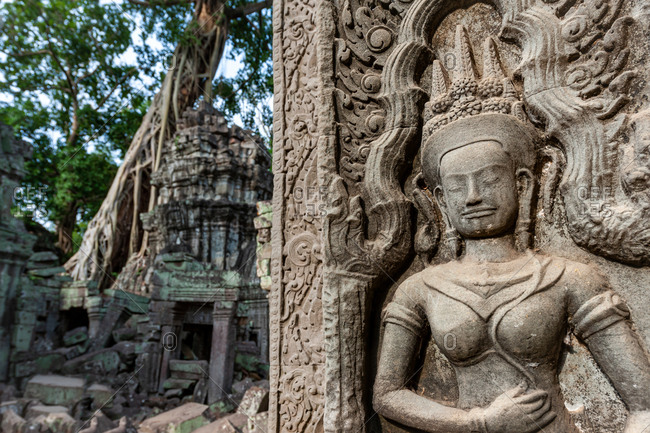Close up of Apsara dancer in Ta Prohm with famous strangulating fig tree in back ground, Siem Reap, Cambodia.
