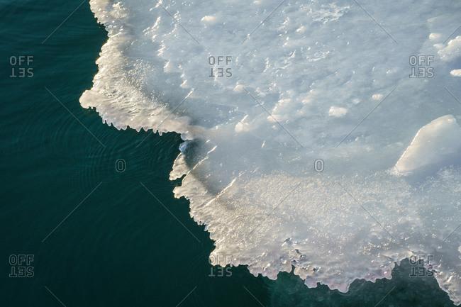 Pack ice at St Jonsfjorden, North Spitsbergen, Svalbard and Jan Mayen, as seen on an Arctic cruise.