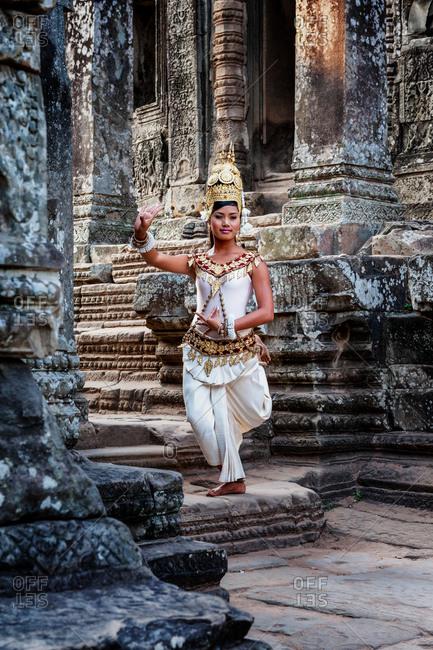 SIEM REAP, CAMBODIA - 04 FEBRUARY 2009: Apsara dancer in Bayon Temple, Angkor Thom.