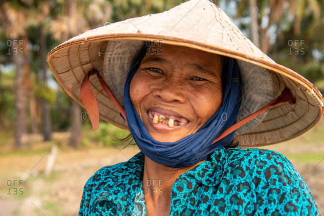 SIEM REAP, CAMBODIA - 10 February 2013: Portrait of local lady. Angkorian Park.