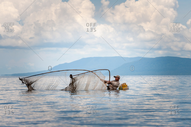 KAMPOT PROVINCE, CAMBODIA - 18 August 2011: Fishing for shrimp.