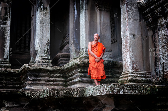 SIEM REAP, CAMBODIA - 22 OCTOBER 2010: Monk in Angkor Wat