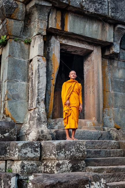 SIEM REAP, CAMBODIA - 19 January 2011: Monks at Ta Keo