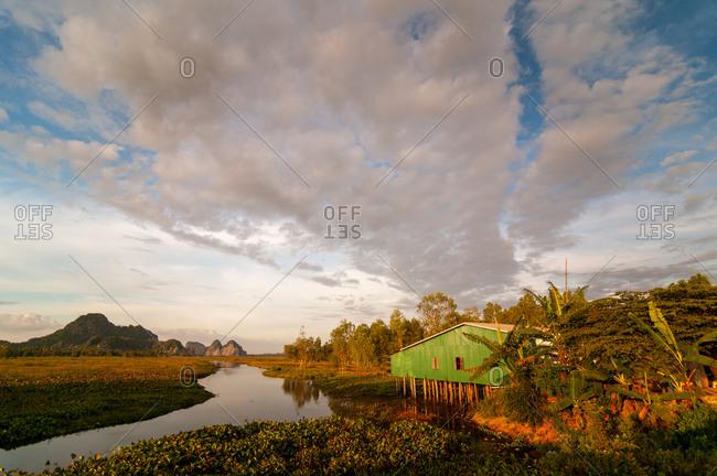 Rural scene in Kampot province, Cambodia.