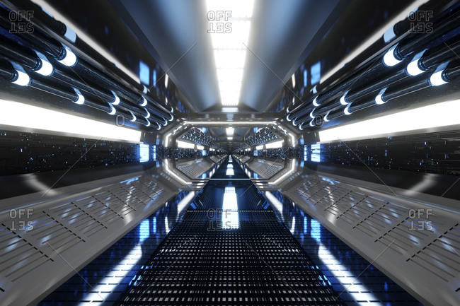 3D rendered Illustration of futuristic spaceship corridor