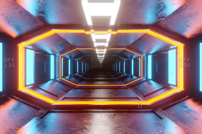 3D rendered Illustration visualization of futuristic space ship corridor