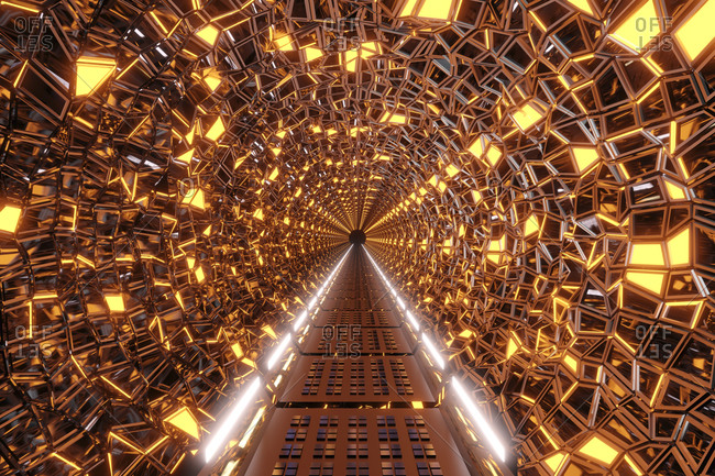 3D rendered Illustration interior of a psychedelic alien corridor