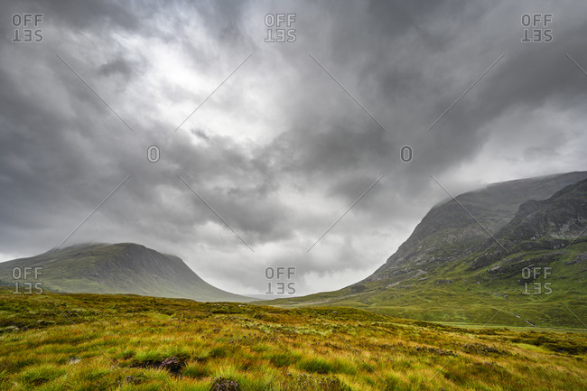 Dramatic gray clouds over GlenCoe