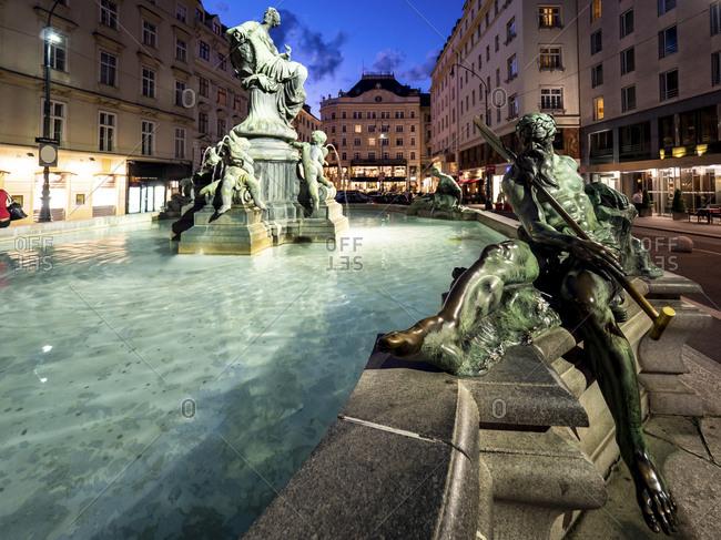 July 6, 2016: Austria- Vienna-Donnerbrunnen fountain at night