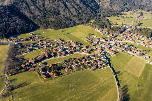 Germany- Bavaria- Schleching- Helicopter view of alpine town in summer