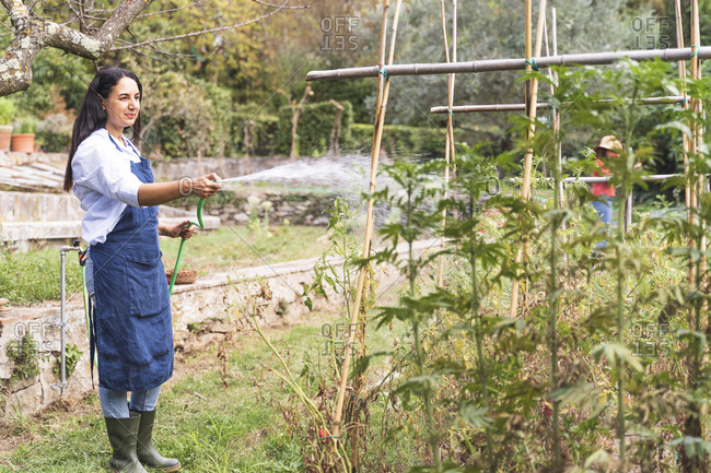 Woman gardening while spraying water from hose at vegetable garden
