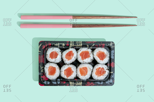 Studio shot of bento box with maki sushi and nigiri