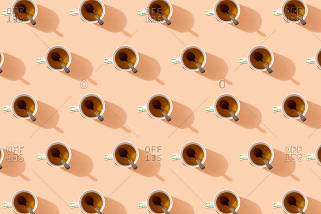 Pattern of mugs of herbal tea