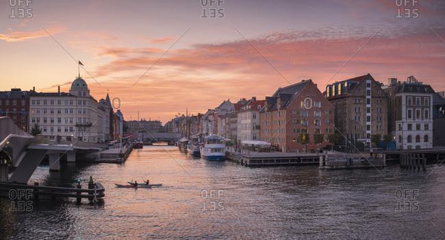 Denmark- Copenhagen- Panorama of Nyhavn quarter at dusk