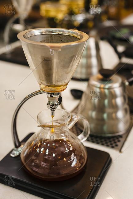 Close-up of coffee maker utensils