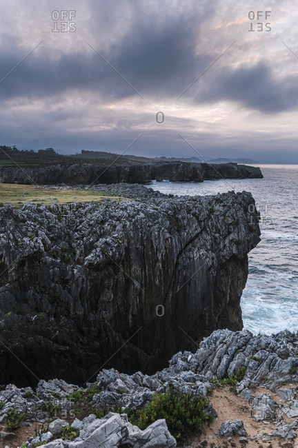 Clouds over Bufones de Pria cliffs at dusk- Astrurias- Spain