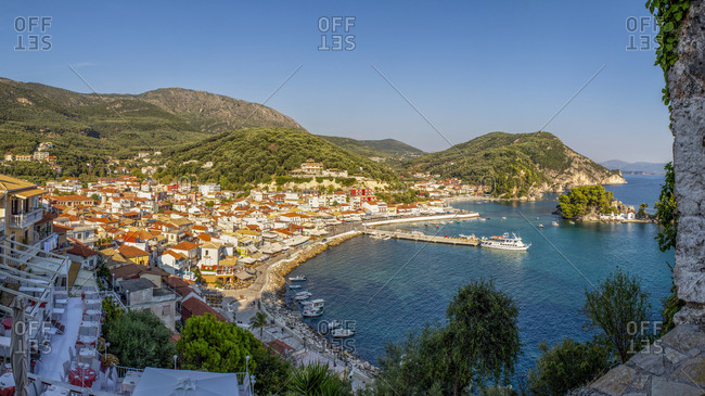 Greece- Preveza- Parga- Panorama of resort town on Ionian coast in summer