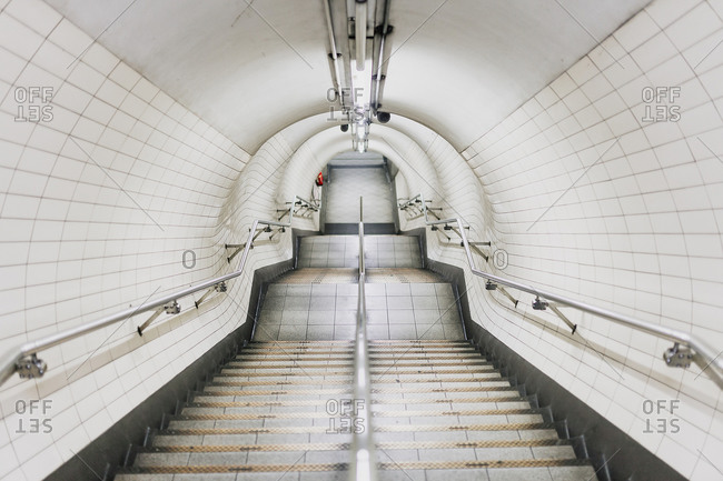 UK- England- London- White clean staircase in railroad station