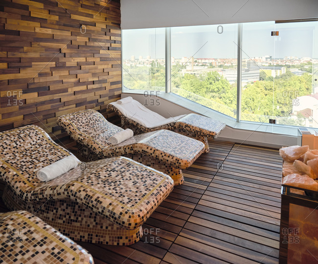 Interior of health spa with lounge chair