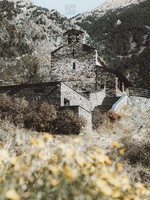 Old abandoned church at the top