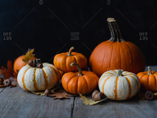 Still life of orange and white pumpkins on rustic wooden table.