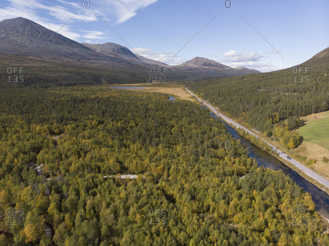 High angle view of a rural highway through natural Norwegian landscape