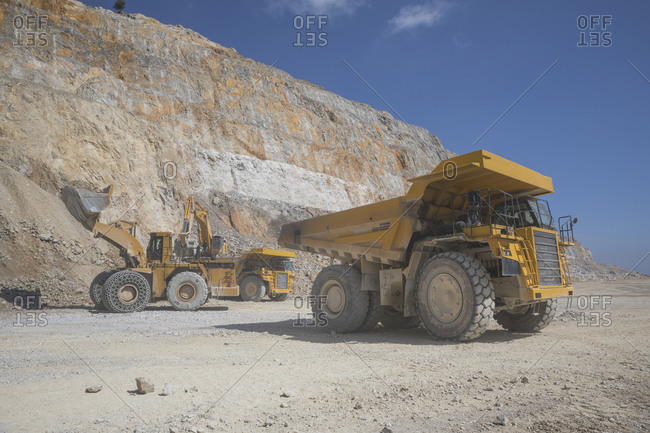 Mining equipment working in open pit