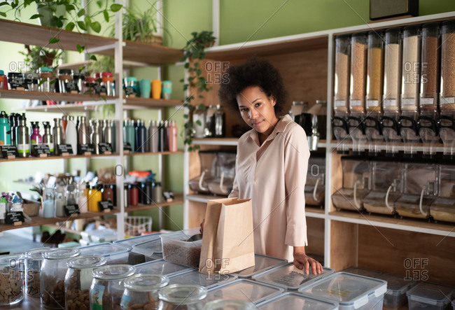 Black owner of shop of ecologically clean groceries