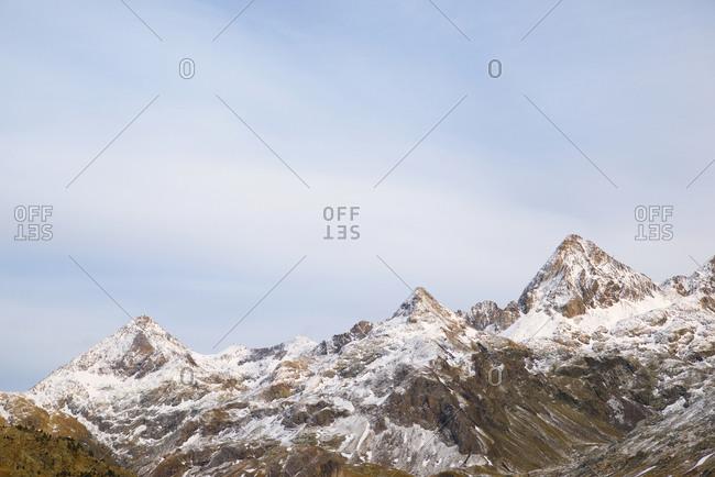 Snowy peaks in the Pyrenees, Respomuso Valley in Sallent de Gallego, Tena Valley, Huesca Province, Aragon, Spain.
