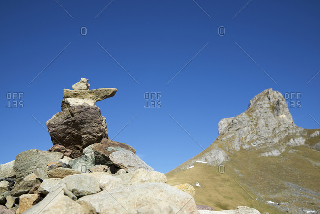 Cairn to indicate the right path in Ossau Valley, Pyrenees in France.