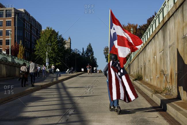Washington, DC, United States - November 7, 2020: Biden supporters celebrate near the White House