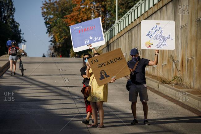 Washington, DC, United States - November 7, 2020: Biden supporters celebrate near the White House on Nov. 7, 2020.