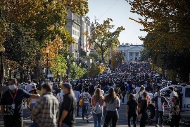 Washington, DC, United States - November 7, 2020: Biden supporters celebrate outside the White House on Nov. 7.