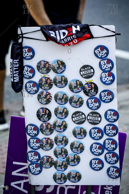 Washington, DC, United States - November 7, 2020: Biden campaign victory buttons for sale in Washington DC on Nov. 7.