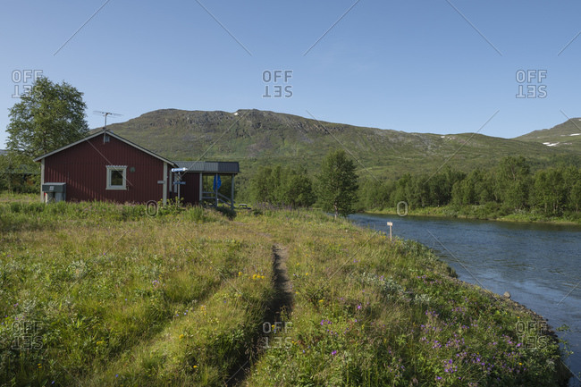Riverside STF Sammarlappa mountain hut along Padjelantaleden Trail, Lapland, Sweden