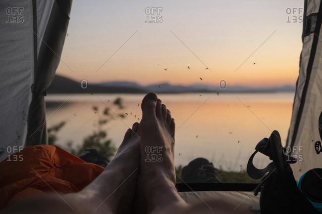 Feet of male hiker inside tent with mosquitos waiting on mesh doorway, Staloluokta, Padjelantaleden trail, Lappland, Sweden