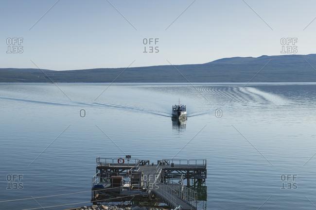 MS Storlule ferry boat over lake Akkajaure arriving at Anonjalmme from Ritsem for hikers on Padjelantaleden Trail, Lapland, Sweden