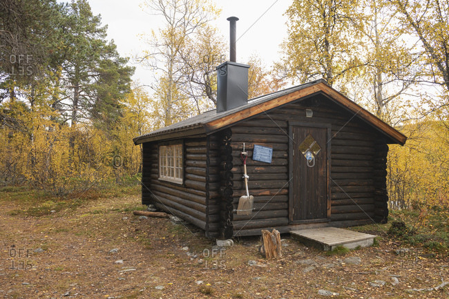 Adolfsstrom, Norrbotten County, Sweden - September 14, 2019: Small mountain hut at Barasjuhka river along Kungsleden Trail, Lapland, Sweden