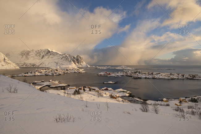Dramatic winter weather over Reine and surrounding villages, Moskenesoy, Lofoten Islands, Norway