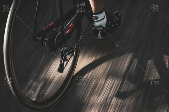 Low section of cyclist on bike