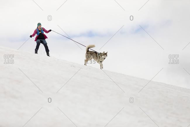 Woman hiking with husky dog