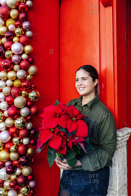 Woman standing outside shop red door with christmas decorative baubles holding pot of poinsettia flower in daylight looking away